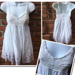 NWT Ultra Pink Crochet White Dress Size Small NEW!